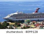 caribbean cruise ship docked on ... | Shutterstock . vector #8099128