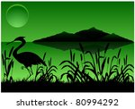Silhouette Of Heron In Canes O...