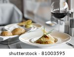 Food In Restaurant On The Tabl...