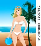 Raster version Illustration of a white swimsuit girl on the beach with a frisbee and palm tree. - stock photo