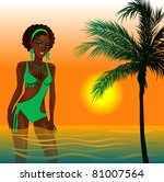 Raster version Illustration of a Green Swimsuit Girl in water at beach during sunset or sunrise. - stock photo