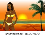 Raster version Illustration of a woman in yellow swimsuit on beach during sunset/sunrise. - stock photo