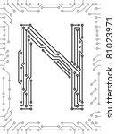 alphabet of printed circuit... | Shutterstock .eps vector #81023971