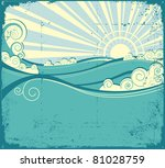 Sea Waves Background. Vintage...
