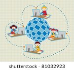 Children uses school social network to learn and teach class lessons. - stock vector