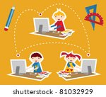 Children learning and social school communication diagram. Internet as a learning tool. - stock vector