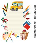 Set of vector School tools and Supplies background. - stock vector