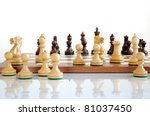 chess pieces on wood board ... | Shutterstock . vector #81037450