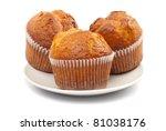 Three Fresh Muffins On Plate...