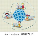 Children uses school social network to learn and teach class lessons. - stock photo