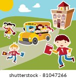 Back to school concept illustration background. Bus, children and school facade composition. - stock photo