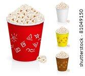 Popcorn in fun multi-colored glasses. Illustration on white background - stock vector