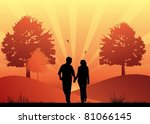 couple in love walking in the... | Shutterstock .eps vector #81066145
