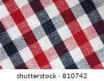 macro of colorful grid pattern cloth - stock photo