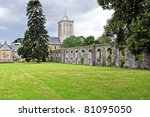 historic abbey of lucerne in france - stock photo