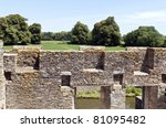 stone wall of a castle in France - stock photo