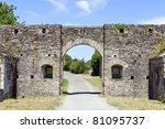 stone walls of a castle in normandy france - stock photo