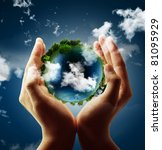holding a glowing earth globe... | Shutterstock . vector #81095929