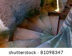stone stairway in a old chateau - stock photo