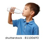 child drinks water from bottle... | Shutterstock . vector #81100693