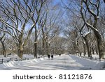 The Mall in Central Park in Manhattan after a freshly fallen Winter snow. - stock photo