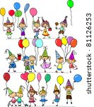 funny children's birthday party | Shutterstock .eps vector #81126253