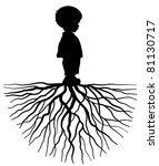 the silhouette of a child with... | Shutterstock .eps vector #81130717