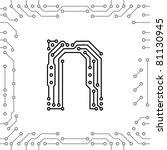 alphabet of printed circuit... | Shutterstock .eps vector #81130945