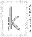 alphabet of printed circuit... | Shutterstock .eps vector #81130954