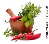 fresh flavoring herbs and... | Shutterstock . vector #81132835
