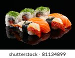 sushi set on black background | Shutterstock . vector #81134899