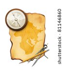 Vector Map With Compass  Pencil ...