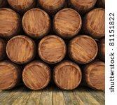 Wall Of Wooden Barrels.