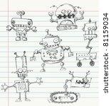 Robot Doodles On A Notebook...