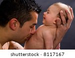 father holds his baby  3 months ... | Shutterstock . vector #8117167