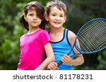 portrait of a little girl and... | Shutterstock . vector #81178231