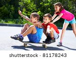 a girl pushing skateboard with... | Shutterstock . vector #81178243