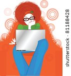 girl with laptop | Shutterstock .eps vector #81188428