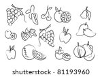 the vector set of fruit drawing ... | Shutterstock .eps vector #81193960