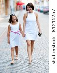 mother and daughter shopping in ... | Shutterstock . vector #81215257