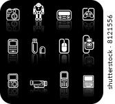 gadget icon set. a set of white ... | Shutterstock . vector #8121556