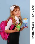 schoolgirl with pink backpack... | Shutterstock . vector #81217120