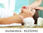 young woman enjoying facial at... | Shutterstock . vector #81252442