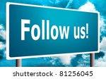 Follow us sign - stock photo