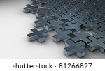 Abstract puzzle from crosses 3d background - stock photo