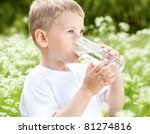 child drinking pure water in... | Shutterstock . vector #81274816