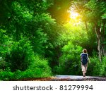 young woman walking on green... | Shutterstock . vector #81279994