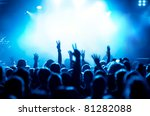 silhouettes of concert crowd in ... | Shutterstock . vector #81282088