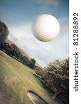 Golf Ball Flying Over Green...
