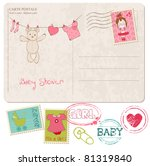 baby shower card with set of... | Shutterstock .eps vector #81319840